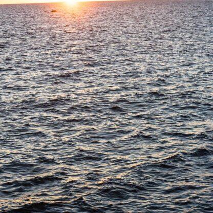 Seestück mit schrägem Horizont und der aufgehenden Sonne