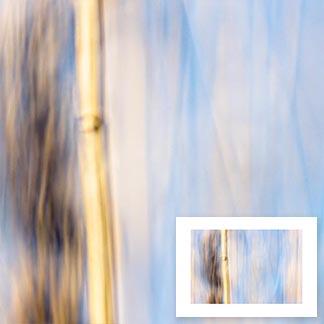 Abstraktes Bild in Ocker- und Blautönen